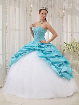 White and Blue Quinceanera Dresses