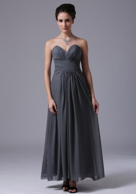 Ankle-length Grey Chiffon Homecoming Bridesmaid Dress
