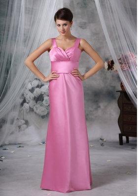 Straps Floor-length Satin Pink Ruched Bridesmaid Dress