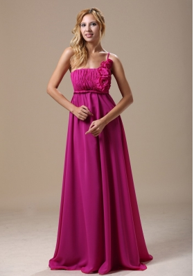 One Shoulder Fuchsia Hand Made Flowers Bridesmaid Dress