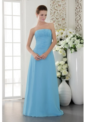 Light Blue Strapless Floor-length Chiffon Bridesmaid Dress