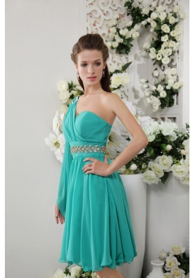 One Shoulder Turquoise Empire Chiffon Bridesmaid Dress
