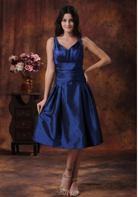 Tea-length Royal Blue Bridesmaid Dress With V-neck