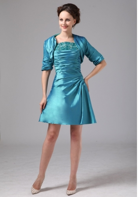 Teal Appliques Ruched Mini-length Mother Dress With Jacket