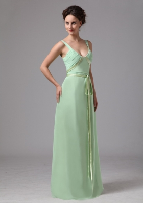 Spaghetti Straps Apple Green Floor-length Mother Dress
