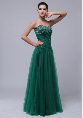 Hunter Green Beaded Tulle Prom Dress Floor-length