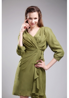 3/4 Sleeves Olive Green V-neck Mini-length Bridesmaid Dress