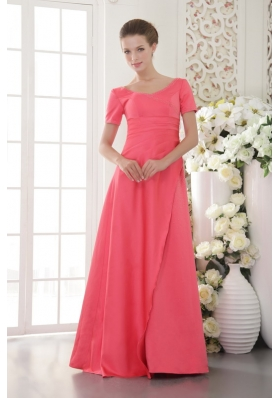 Short Sleeves Coral Red Scoop Satin Bridesmiad Dress