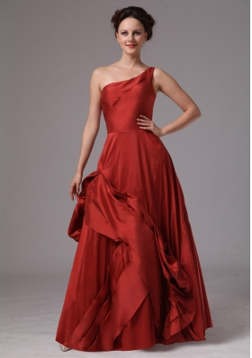 One Shoulder Red A-line Floor-length Prom Dress