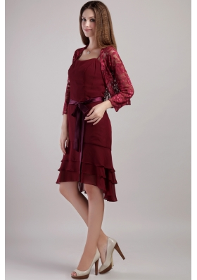 Spaghetti Straps Burgundy Layered Bridesmaid Dress Jacket