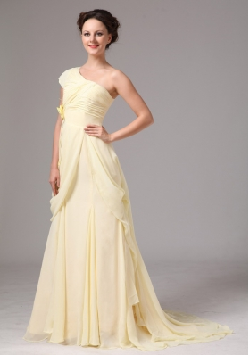 One Cap Sleeve Chiffon Brush Train Yellow Bridesmaid Dress