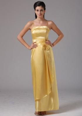 Spaghetti Straps Yellow Column Taffeta Bridesmaid Dress