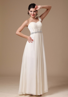 One Shoulder Beaded White Prom Gowns Handmade Flowers