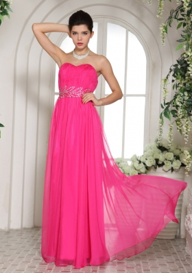 Hot Pink Sweetheart Prom Celebrity Dress Ruched Chiffon