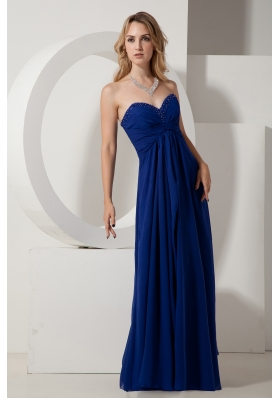 Royal Blue Beading Prom Evening Dress Floor-length Chiffon
