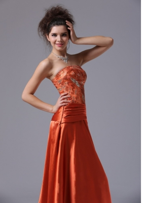 Beading Taffeta Floor-length Prom Dress Rust Red