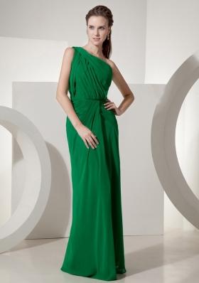 Green Prom Dress One Shoulder High Slit Chiffon
