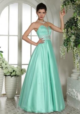 Apple Green Beaded Prom Gown Dress Floor-length