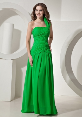 Spring Green One Shoulder Prom Dress Ruched Chiffon