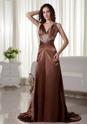 Brush TrainTaffeta Beaded Prom Dress Brown V-neck