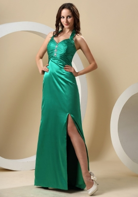 Teal High Slit Halter Ruched Beading Prom Dress