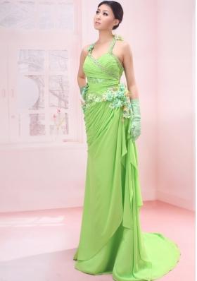 Halter Lime Green Chiffon Prom Dress Brush Train