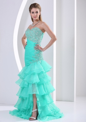 Layered Asymmetrical Turquoise Prom Dress Beaded Ruched