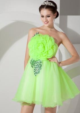 Bright Green Handmade Flowers Mini-length Prom Dress