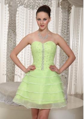 Layered Yellow Green Beaded Homecoming Dress Sweetheart