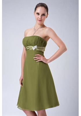 Olive Green Strapless Bridesmaid Dress Chiffon Knee-length