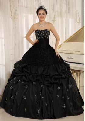 Black Appliques Taffeta Strapless Quinceanera Dress Ruched