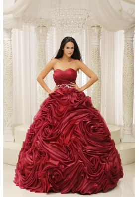 Rolling Flowers Burgundy A-line Sweetheart Quinceanera Dress