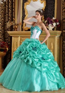 Turquoise 15 Quinceanera Dress Organza Handmade Flowers
