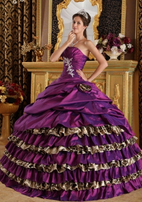 Leopard Purple Layered One Shoulder 15 Quinceanera Dress