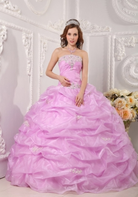 Lavender Strapless Pick Ups Organza Appliques Quinceanera Dress