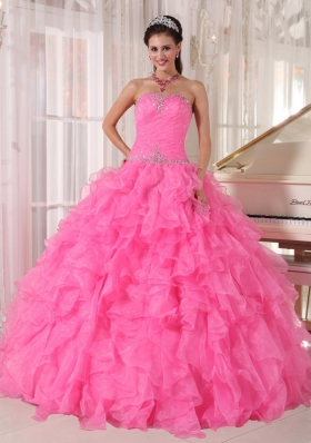 Pink Quinceanera Dress Beading Pleats Ruffles Over