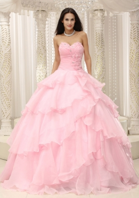 Baby Pink Ruched Hand Made for Quinceanera Dress