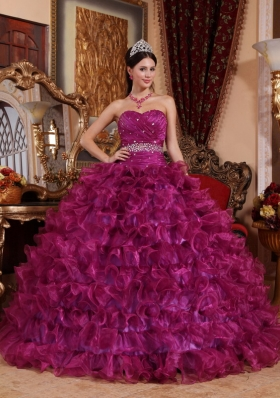 Fuchsia Beading Quinceanera Dress With Ruffles
