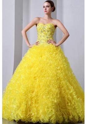 Sweet 15 Dresses Yellow A-Line Brush Beading Ruffles