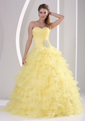 Light Yellow Ruffles Appliques Quinceanera Gowns
