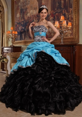 Aqua Blue and Black Pick-ups Zebra Quinceanera Dress