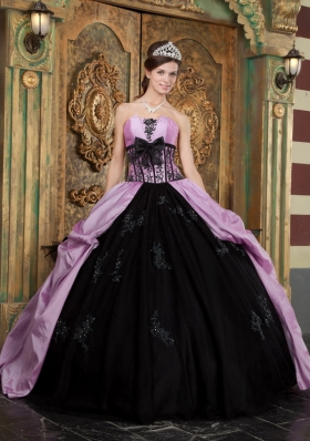 Purple and Black Quinceanera Dress Appliques Bowknot