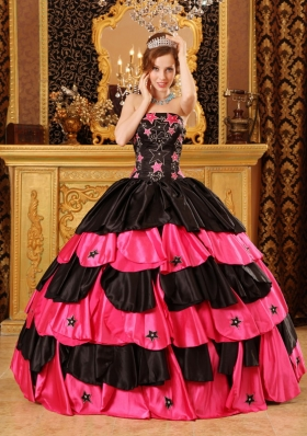 Pink and Black Beading Quinceanera Dress Layered