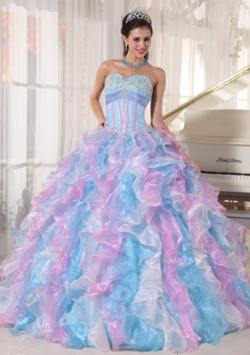 Sweetheart Appliques Quinces Dress Colorful Ruffles