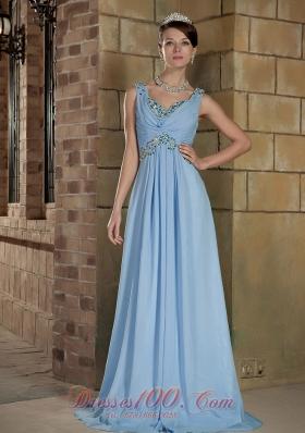 Brush Train Light Blue Straps Prom Dress