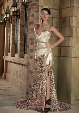 Champagne Sweetheart Taffeta and Leopard Slit Prom Celebrity Dress