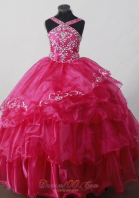 Hot Pink Little Girl Pageant Dress With Beading