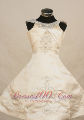 Pretty Scoop Ivory Satin Pageant Dress Embroidery