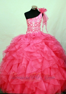 Perfect Hot Pink Pageant Dress One Shoulder Ruffles