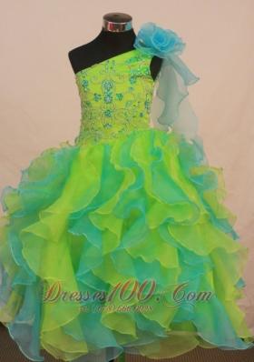 Green and Aqua Pageant Dress Ruffles Flowers